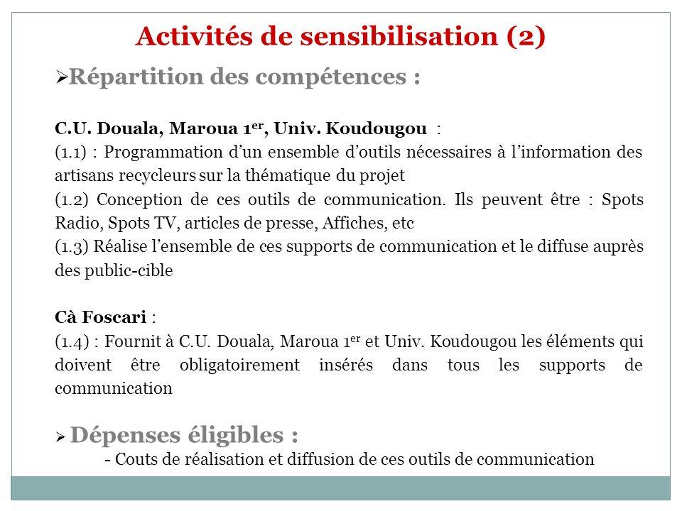 Activités de sensibilisation (2) Répartition des compétences : C.U. Douala, Maroua 1 er, Univ. Koudougou : (1.1) : Programmation dun ensemble doutils