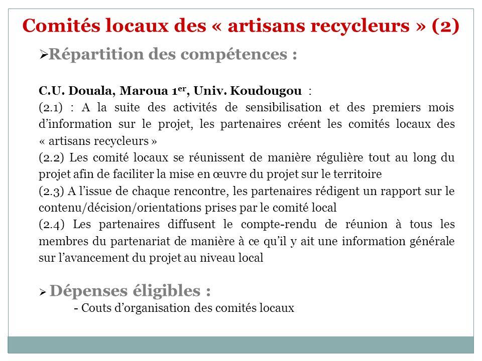 Comités locaux des « artisans recycleurs » (2) Répartition des compétences : C.U. Douala, Maroua 1 er, Univ. Koudougou : (2.1) : A la suite des activi