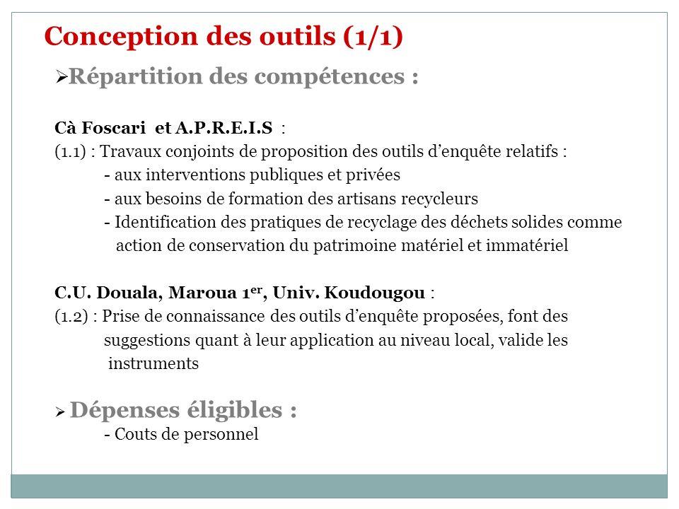 Conception des outils (1/1) Répartition des compétences : Cà Foscari et A.P.R.E.I.S : (1.1) : Travaux conjoints de proposition des outils denquête rel