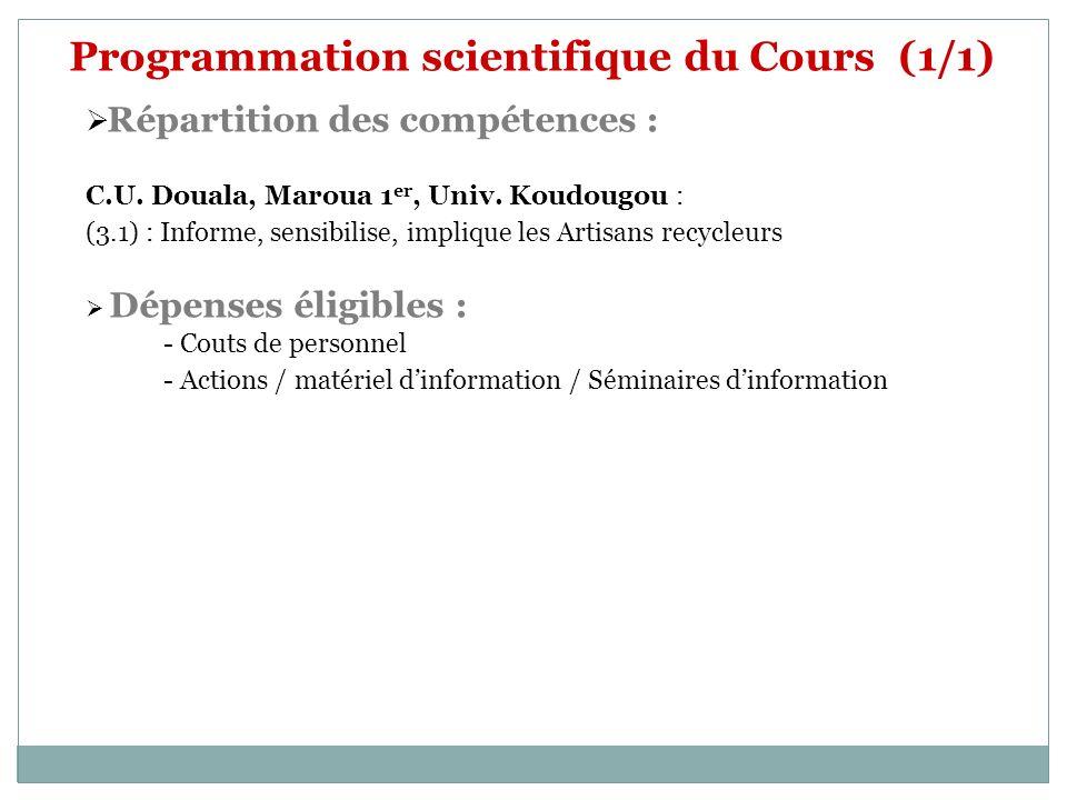 Programmation scientifique du Cours (1/1) Répartition des compétences : C.U. Douala, Maroua 1 er, Univ. Koudougou : (3.1) : Informe, sensibilise, impl