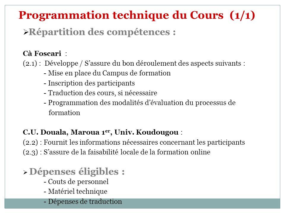 Programmation technique du Cours (1/1) Répartition des compétences : Cà Foscari : (2.1) : Développe / Sassure du bon déroulement des aspects suivants