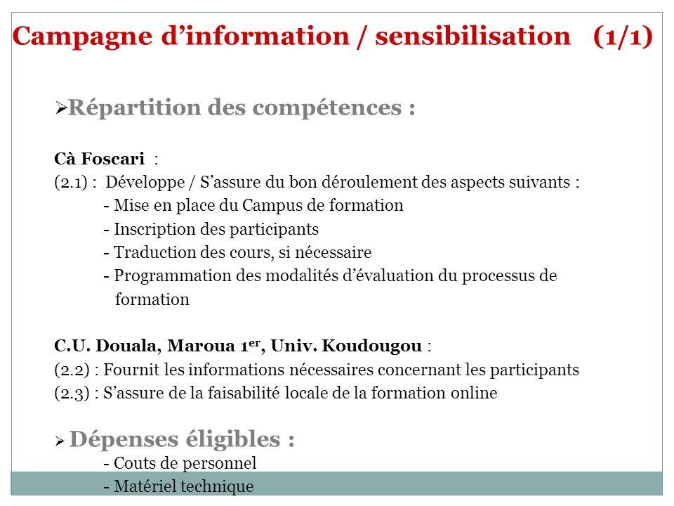 Campagne dinformation / sensibilisation (1/1) Répartition des compétences : Cà Foscari : (2.1) : Développe / Sassure du bon déroulement des aspects su