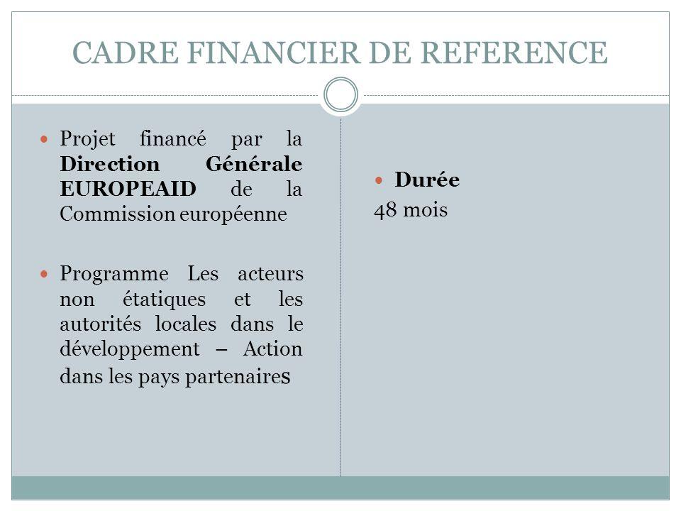 CADRE FINANCIER DE REFERENCE Projet financé par la Direction Générale EUROPEAID de la Commission européenne Programme Les acteurs non étatiques et les