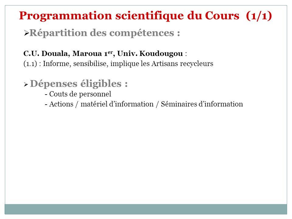 Programmation scientifique du Cours (1/1) Répartition des compétences : C.U. Douala, Maroua 1 er, Univ. Koudougou : (1.1) : Informe, sensibilise, impl