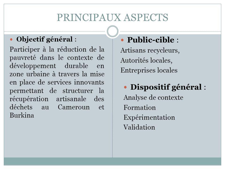 PRINCIPAUX ASPECTS Objectif général : Participer à la réduction de la pauvreté dans le contexte de développement durable en zone urbaine à travers la