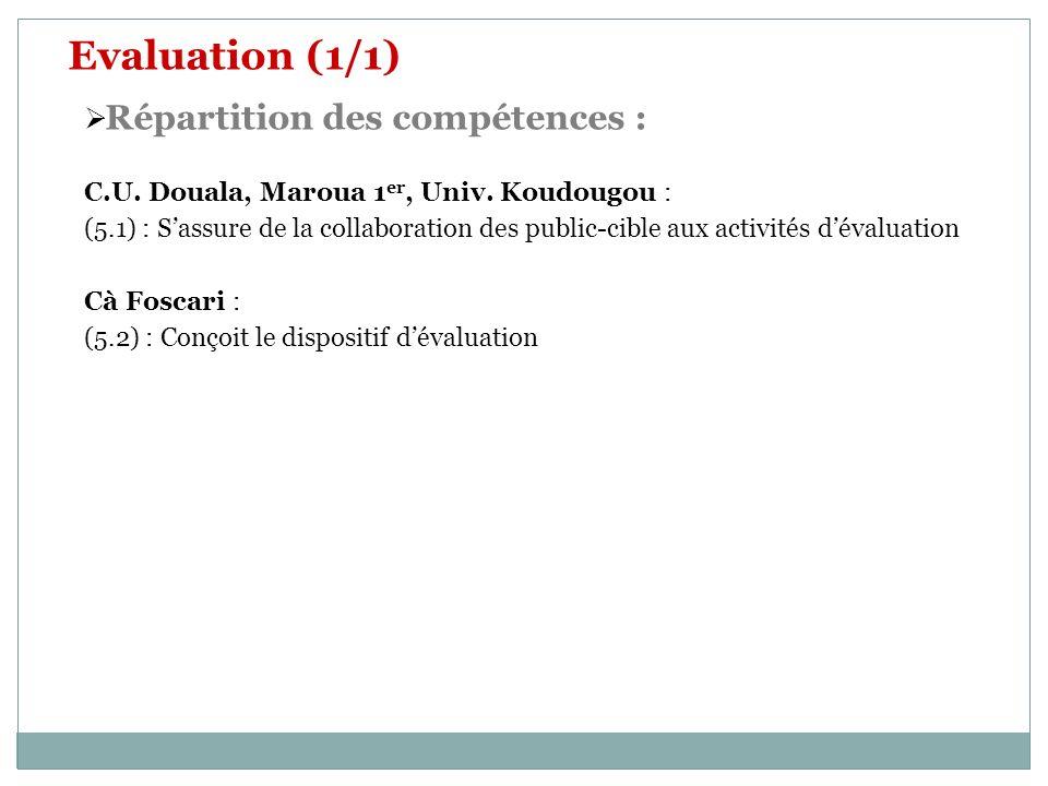 Evaluation (1/1) Répartition des compétences : C.U. Douala, Maroua 1 er, Univ. Koudougou : (5.1) : Sassure de la collaboration des public-cible aux ac