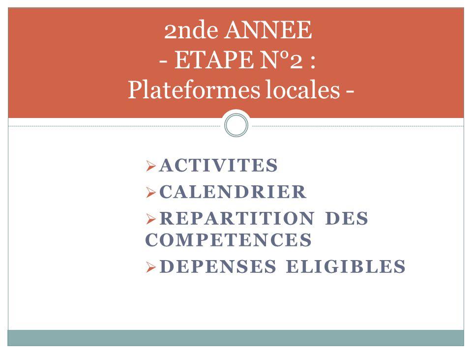 2nde ANNEE - ETAPE N°2 : Plateformes locales - ACTIVITES CALENDRIER REPARTITION DES COMPETENCES DEPENSES ELIGIBLES