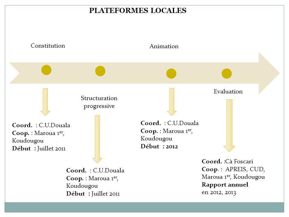Constitution Coord. : C.U.Douala Coop. : Maroua 1 er, Koudougou Début : Juillet 2011 PLATEFORMES LOCALES Structuration progressive Animation Coord. :C
