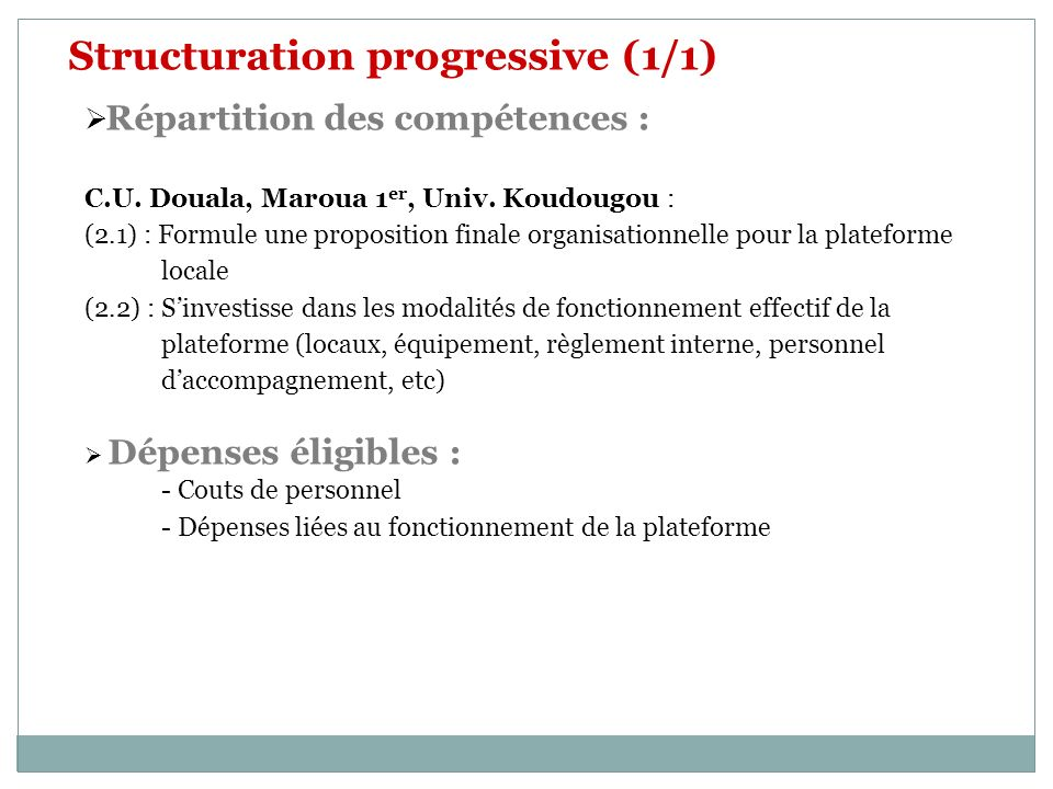 Structuration progressive (1/1) Répartition des compétences : C.U. Douala, Maroua 1 er, Univ. Koudougou : (2.1) : Formule une proposition finale organ
