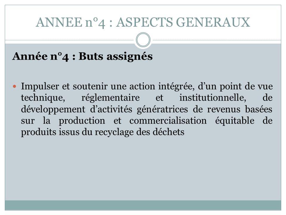 ANNEE n°4 : ASPECTS GENERAUX Année n°4 : Buts assignés Impulser et soutenir une action intégrée, dun point de vue technique, réglementaire et institut