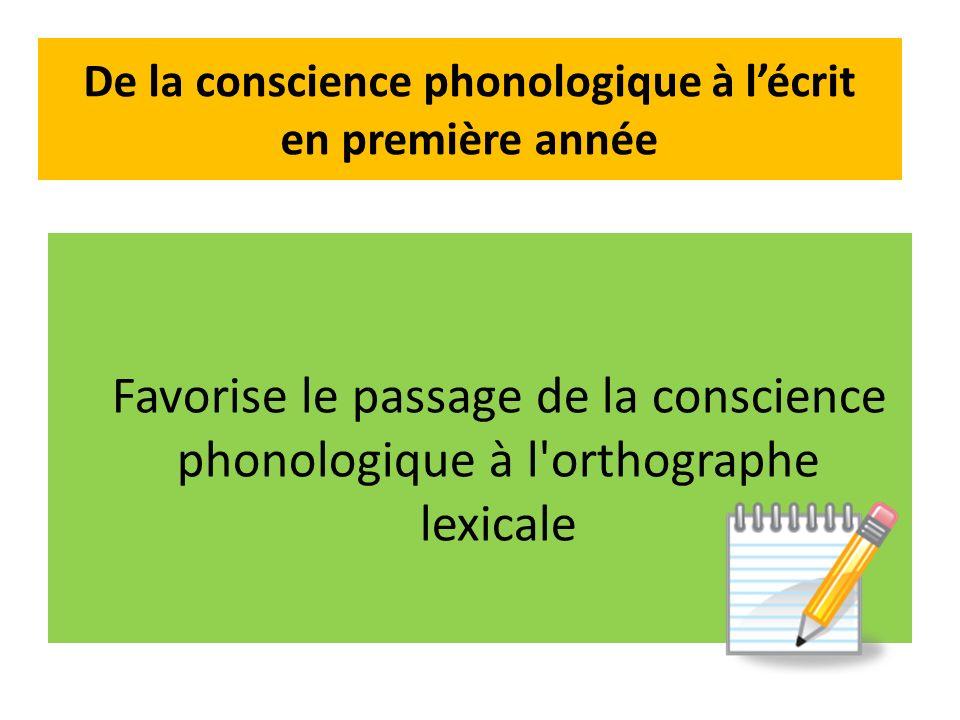 De la conscience phonologique à lécrit en première année Favorise le passage de la conscience phonologique à l orthographe lexicale