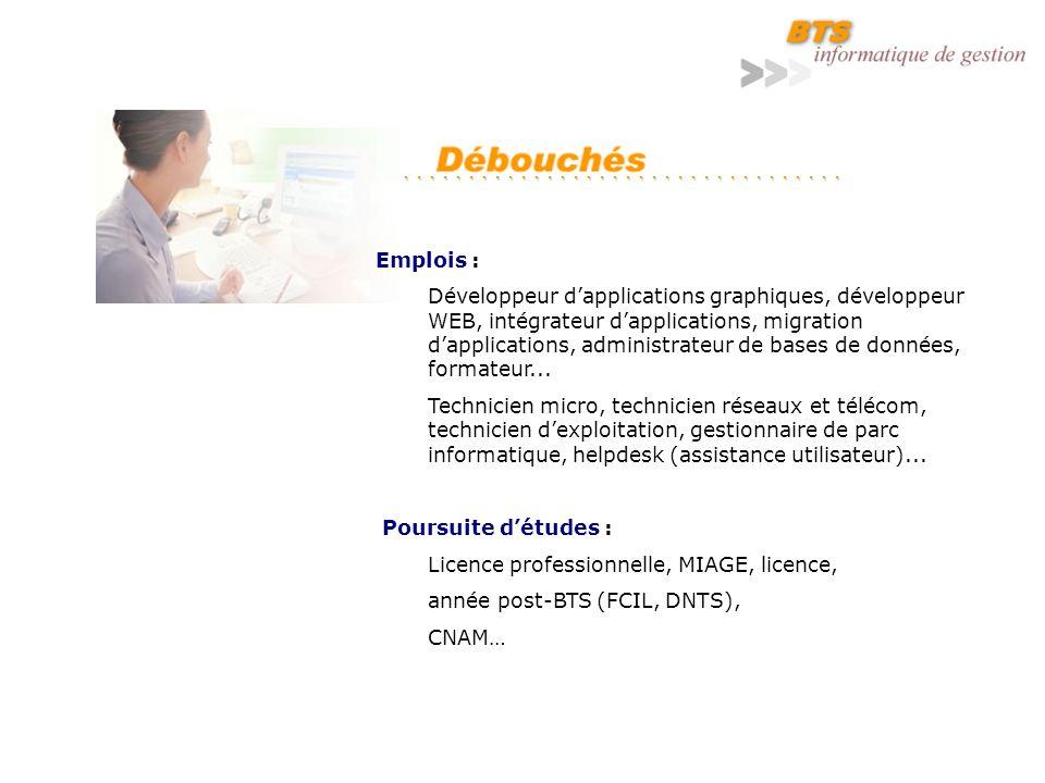 Emplois : Développeur dapplications graphiques, développeur WEB, intégrateur dapplications, migration dapplications, administrateur de bases de données, formateur...