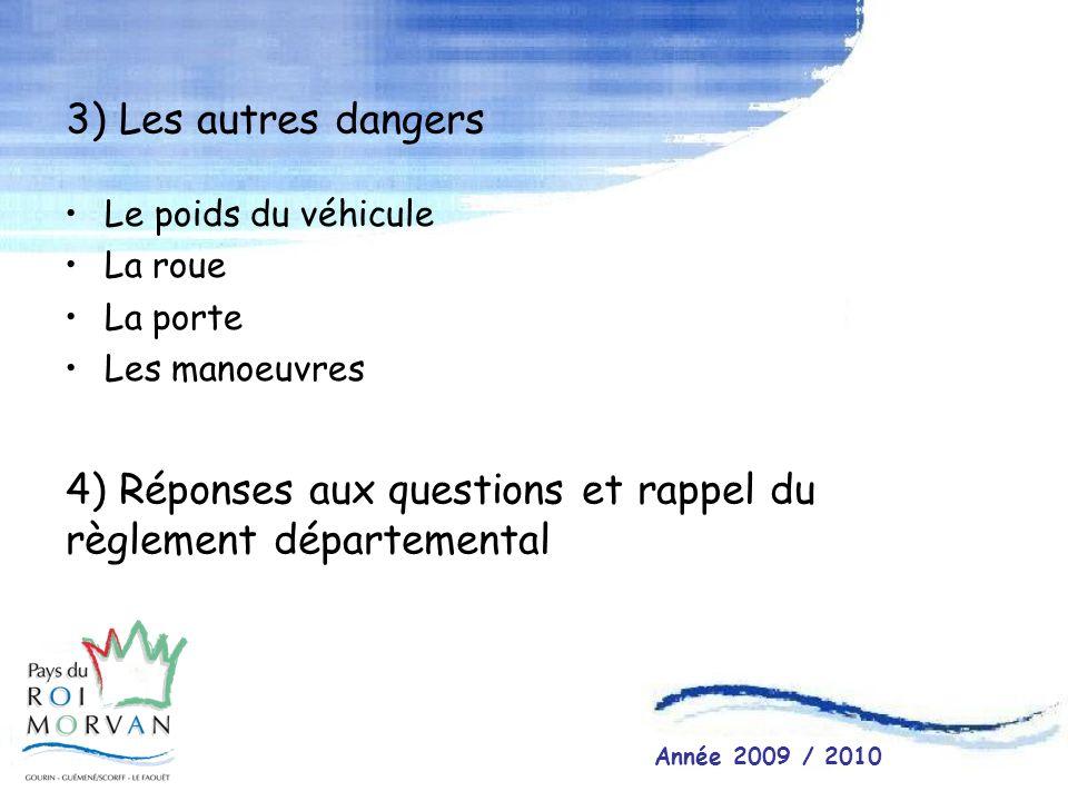 3) Les autres dangers Le poids du véhicule La roue La porte Les manoeuvres 4) Réponses aux questions et rappel du règlement départemental Année 2009 /