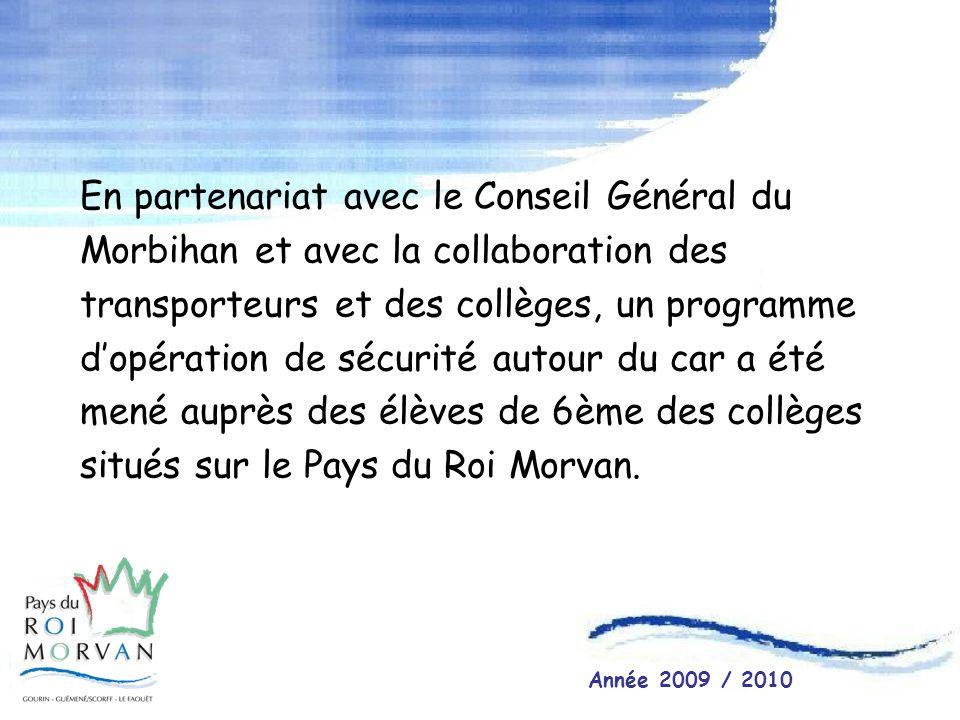 En partenariat avec le Conseil Général du Morbihan et avec la collaboration des transporteurs et des collèges, un programme dopération de sécurité aut