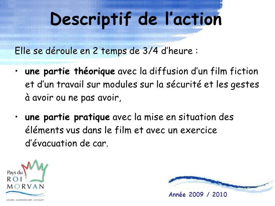 Descriptif de laction Elle se déroule en 2 temps de 3/4 dheure : une partie théorique avec la diffusion dun film fiction et dun travail sur modules su
