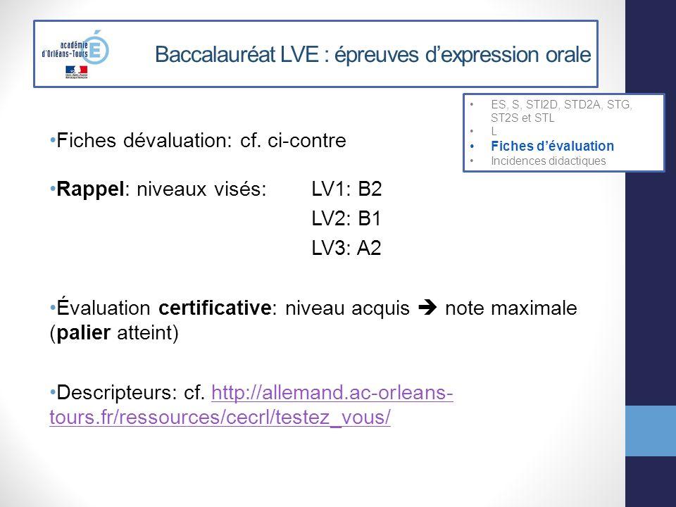 Fiches dévaluation: cf. ci-contre Rappel: niveaux visés: LV1: B2 LV2: B1 LV3: A2 Évaluation certificative: niveau acquis note maximale (palier atteint
