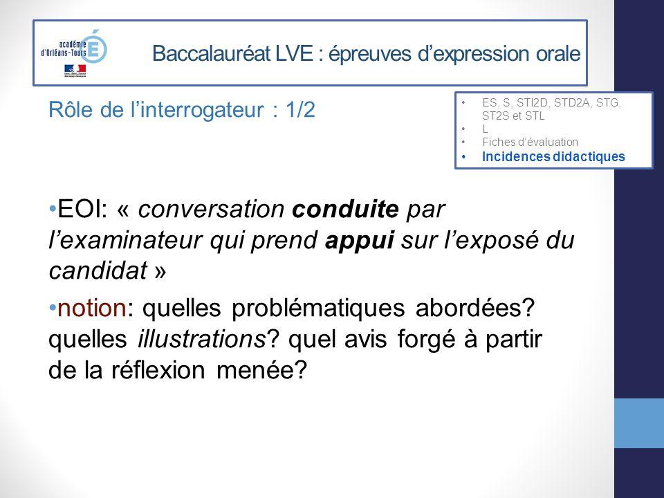 Baccalauréat LVE : épreuves dexpression orale Rôle de linterrogateur : 1/2 EOI: « conversation conduite par lexaminateur qui prend appui sur lexposé d