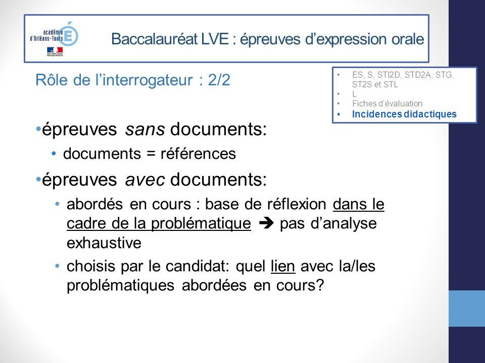 Baccalauréat LVE : épreuves dexpression orale Rôle de linterrogateur : 2/2 épreuves sans documents: documents = références épreuves avec documents: ab
