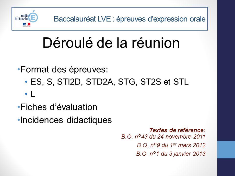 Baccalauréat LVE : épreuves dexpression orale Déroulé de la réunion Format des épreuves: ES, S, STI2D, STD2A, STG, ST2S et STL L Fiches dévaluation In