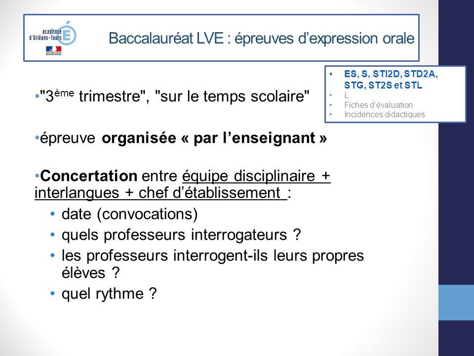 Baccalauréat LVE : épreuves dexpression orale Proposition d organisation: ES, S, STI2D, STD2A, STG, ST2S et STL L Fiches dévaluation Incidences didactiques