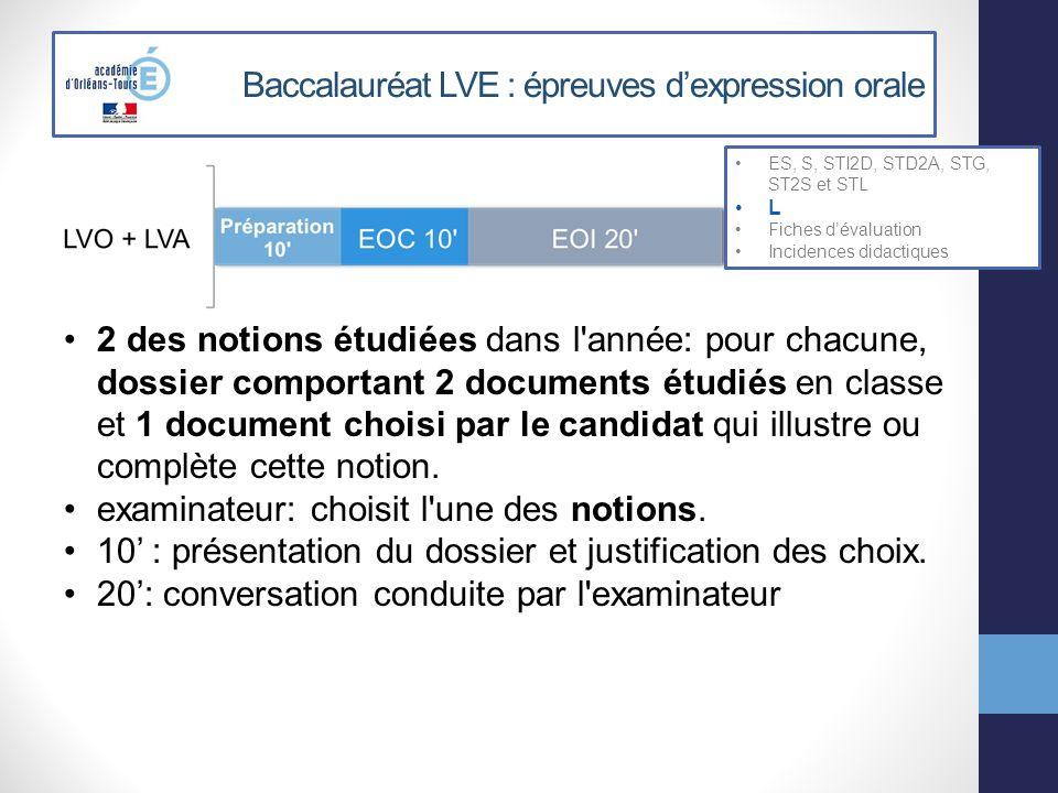 Baccalauréat LVE : épreuves dexpression orale ES, S, STI2D, STD2A, STG, ST2S et STL L Fiches dévaluation Incidences didactiques 2 des notions étudiées