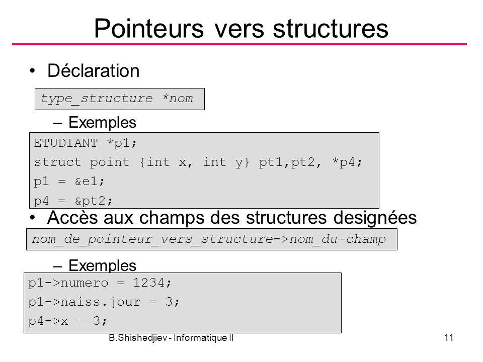 B.Shishedjiev - Informatique II11 Pointeurs vers structures Déclaration –Exemples Accès aux champs des structures designées –Exemples type_structure *