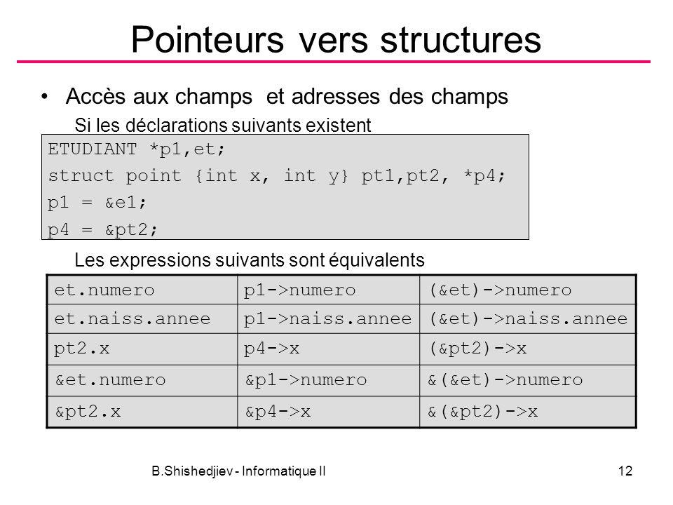B.Shishedjiev - Informatique II12 Pointeurs vers structures Accès aux champs et adresses des champs Si les déclarations suivants existent Les expressi