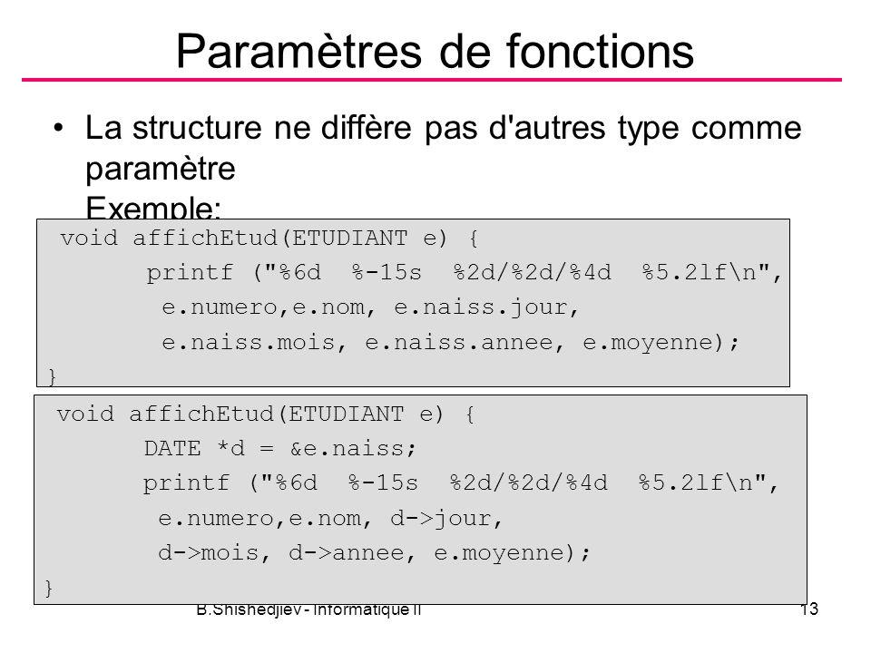 B.Shishedjiev - Informatique II13 Paramètres de fonctions La structure ne diffère pas d'autres type comme paramètre Exemple: void affichEtud(ETUDIANT