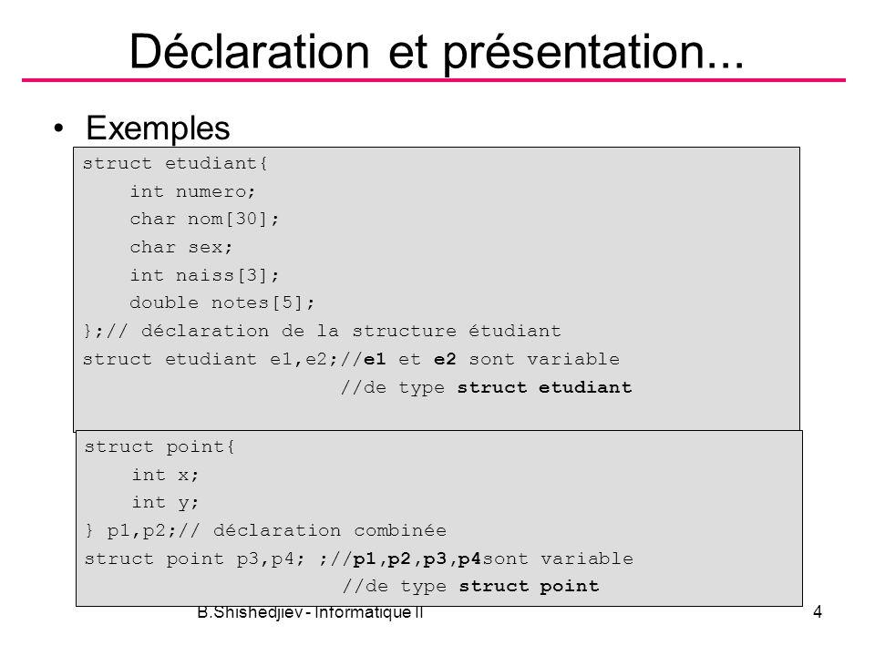 B.Shishedjiev - Informatique II4 Déclaration et présentation... Exemples struct etudiant{ int numero; char nom[30]; char sex; int naiss[3]; double not