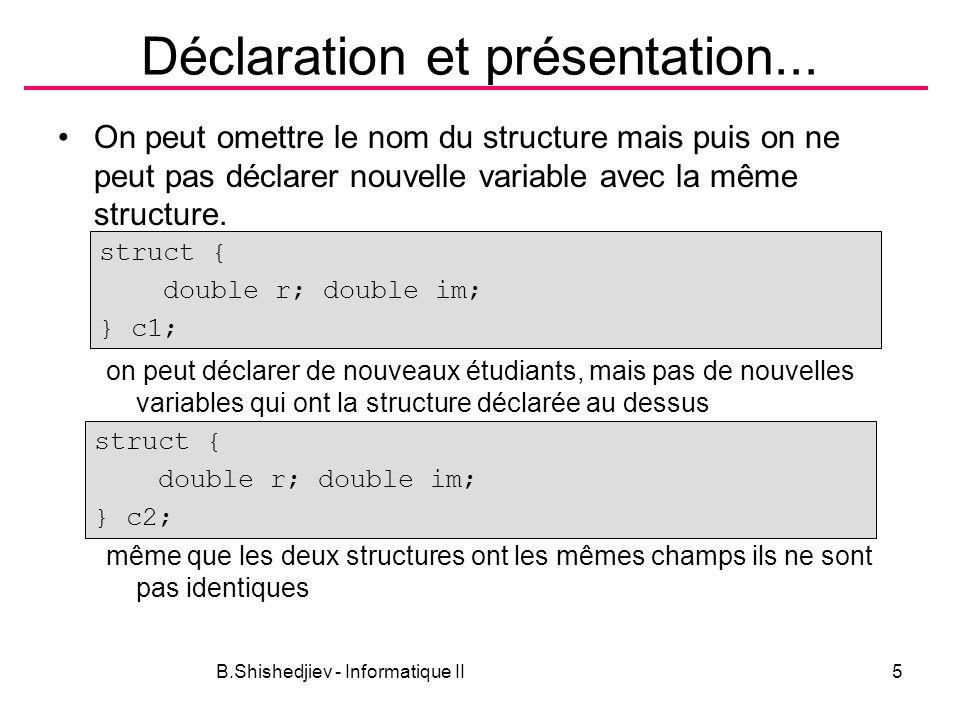 B.Shishedjiev - Informatique II5 Déclaration et présentation... On peut omettre le nom du structure mais puis on ne peut pas déclarer nouvelle variabl