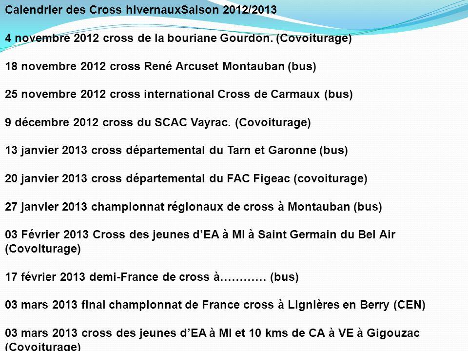 Calendrier des Cross hivernauxSaison 2012/2013 4 novembre 2012 cross de la bouriane Gourdon.