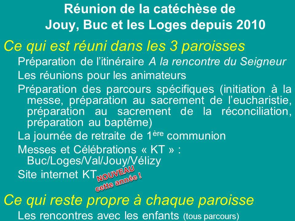 Réunion de la catéchèse de Jouy, Buc et les Loges depuis 2010 Ce qui est réuni dans les 3 paroisses Préparation de litinéraire A la rencontre du Seign