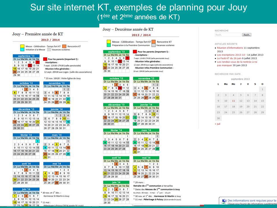 Sur site internet KT, exemples de planning pour Jouy (1 ère et 2 ème années de KT)