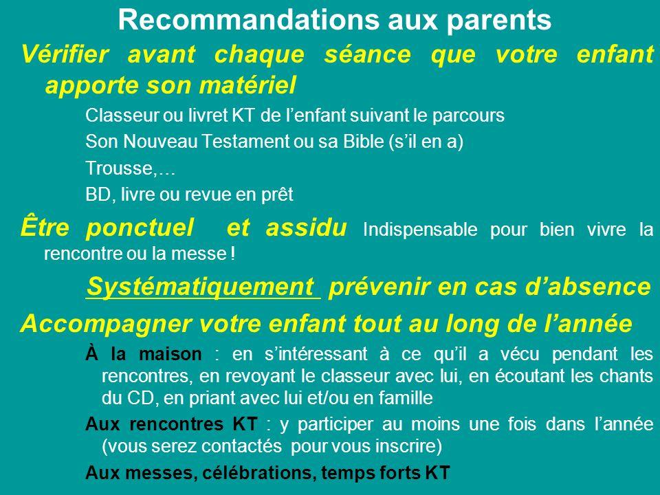 Recommandations aux parents Vérifier avant chaque séance que votre enfant apporte son matériel Classeur ou livret KT de lenfant suivant le parcours So