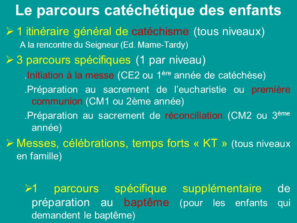 Le parcours catéchétique des enfants 1 itinéraire général de catéchisme (tous niveaux) A la rencontre du Seigneur (Ed. Mame-Tardy) 3 parcours spécifiq