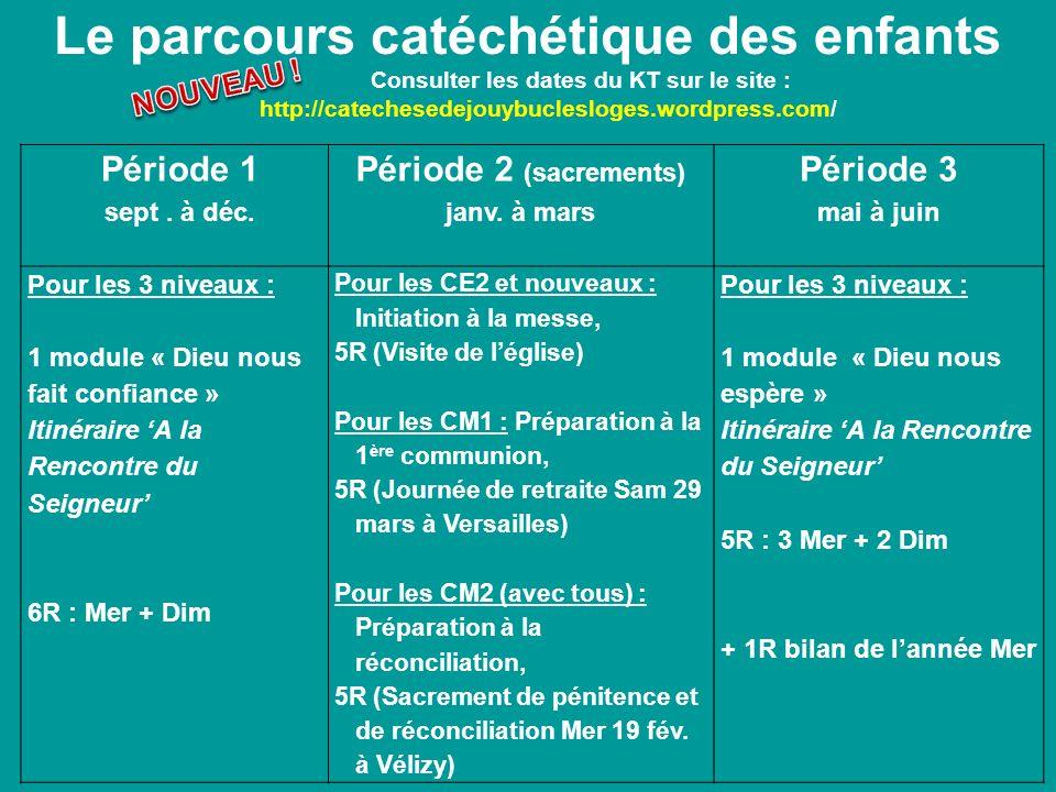 Le parcours catéchétique des enfants Consulter les dates du KT sur le site : http://catechesedejouybuclesloges.wordpress.com/ Période 1 sept. à déc. P