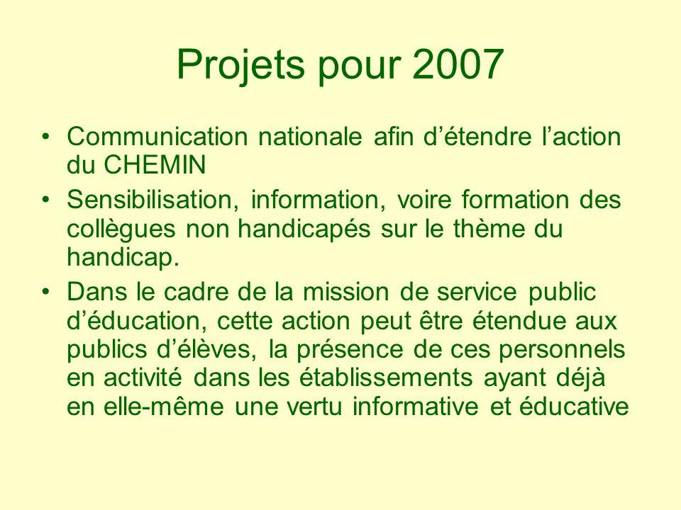 Projets pour 2007 Communication nationale afin détendre laction du CHEMIN Sensibilisation, information, voire formation des collègues non handicapés sur le thème du handicap.