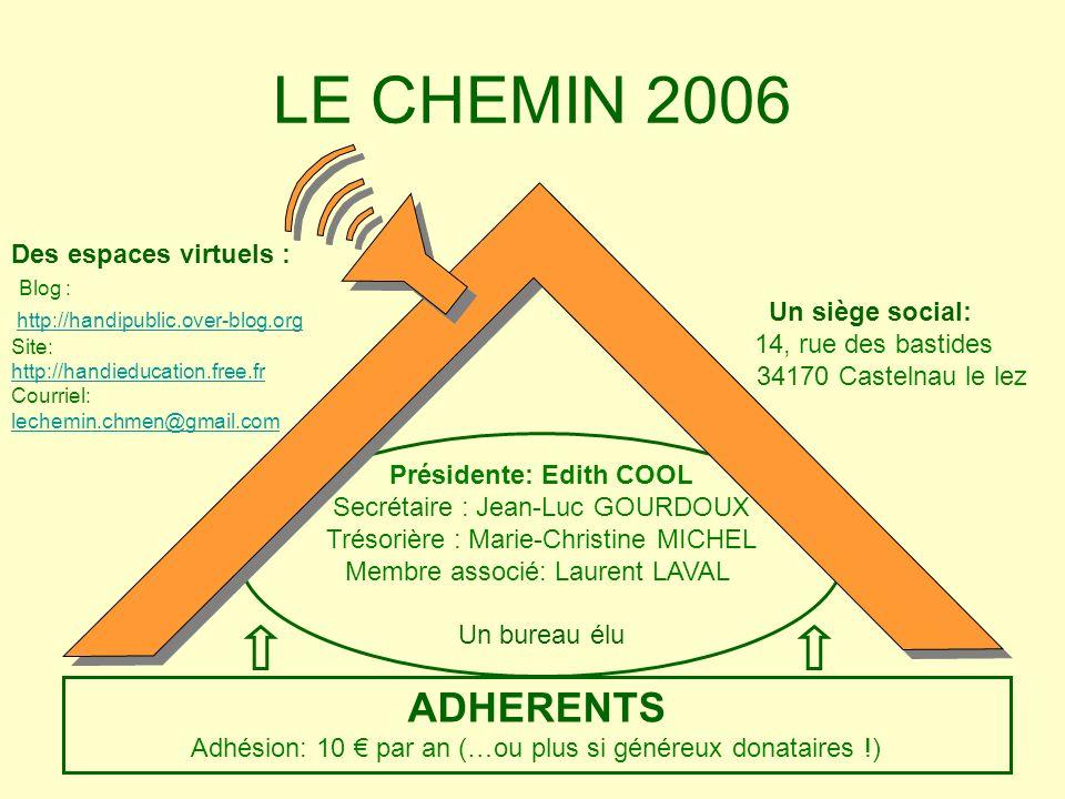 Présidente: Edith COOL Secrétaire : Jean-Luc GOURDOUX Trésorière : Marie-Christine MICHEL Membre associé: Laurent LAVAL Un bureau élu LE CHEMIN 2006 A