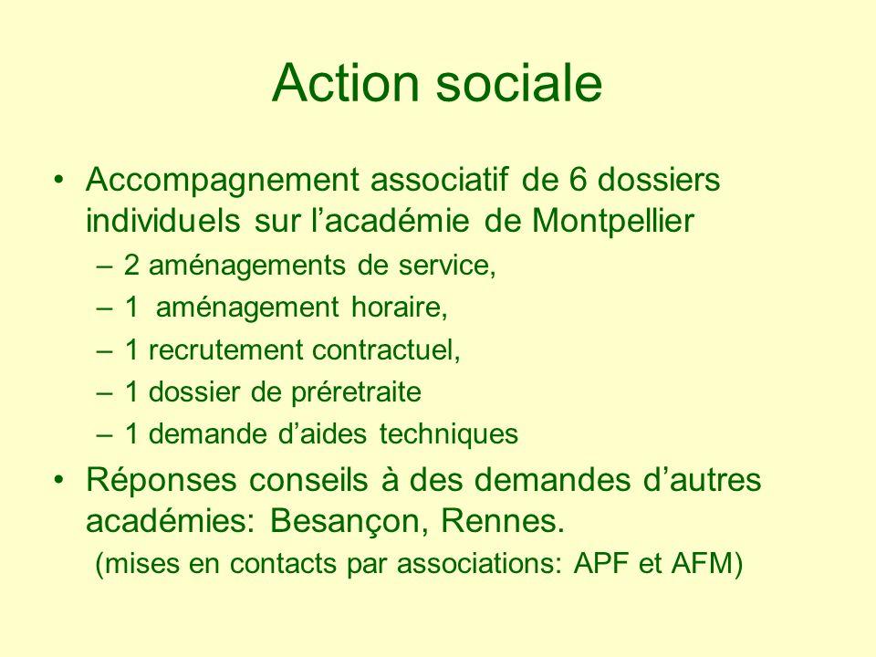 Action sociale Accompagnement associatif de 6 dossiers individuels sur lacadémie de Montpellier –2 aménagements de service, –1 aménagement horaire, –1