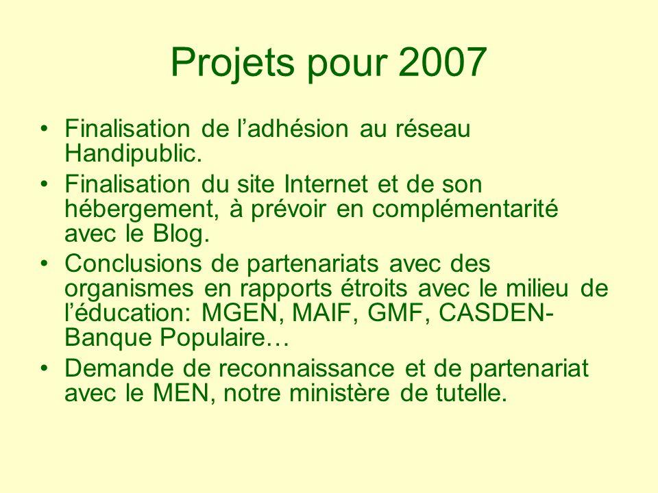 Projets pour 2007 Finalisation de ladhésion au réseau Handipublic. Finalisation du site Internet et de son hébergement, à prévoir en complémentarité a