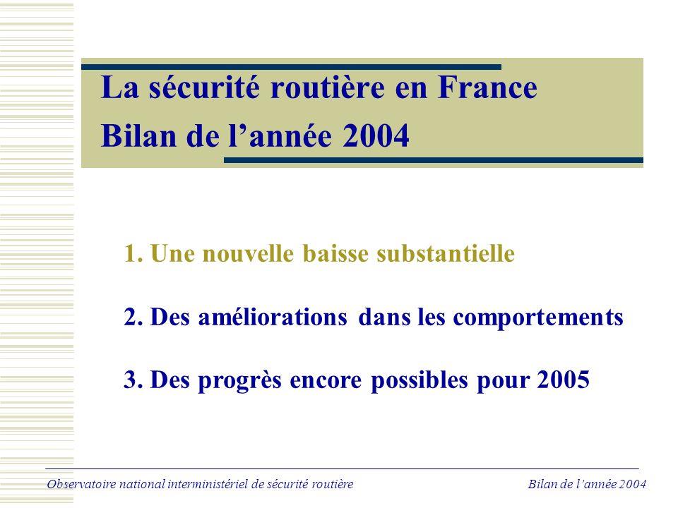Évolution comparée 2004/2003 Observatoire national interministériel de sécurité routière Bilan de lannée 2004