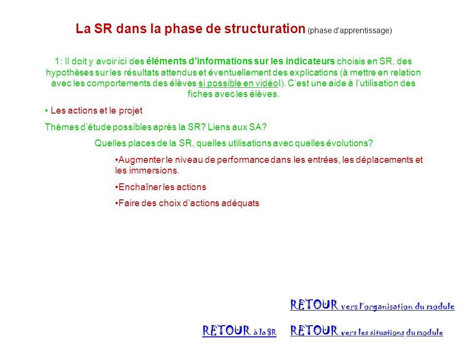 La SR dans la phase de structuration (phase dapprentissage) 1: Il doit y avoir ici des éléments dinformations sur les indicateurs choisis en SR, des h
