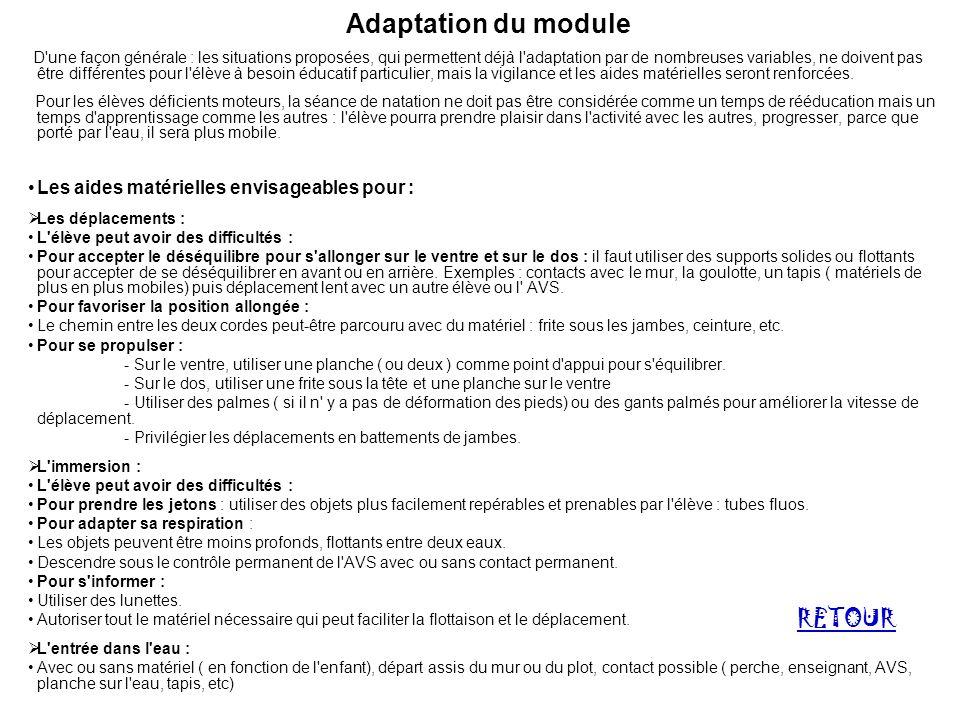 Adaptation du module D'une façon générale : les situations proposées, qui permettent déjà l'adaptation par de nombreuses variables, ne doivent pas êtr