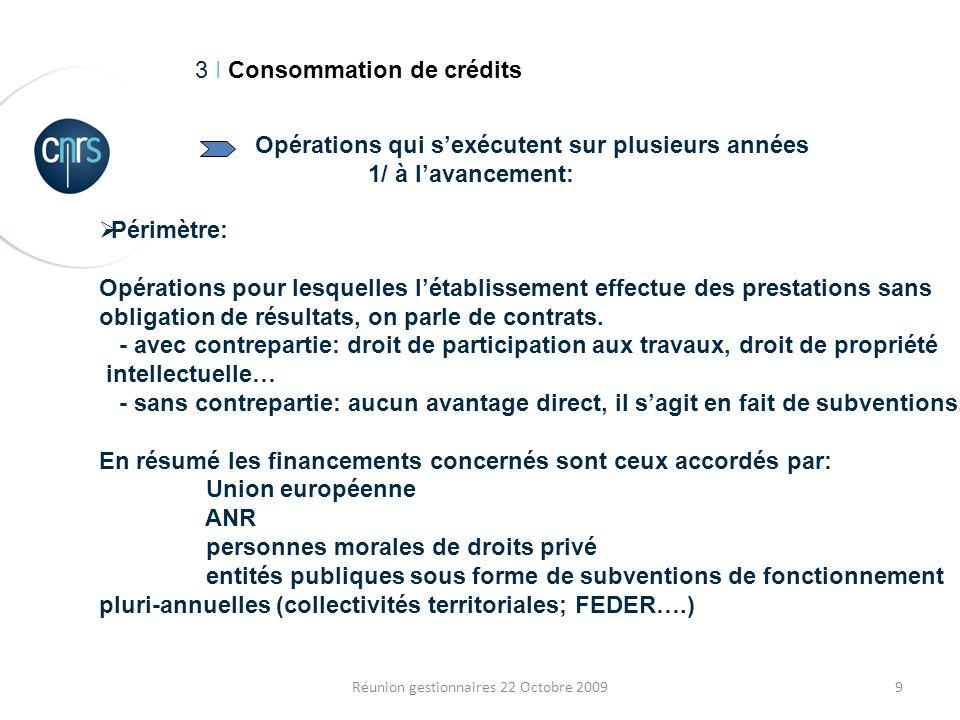 9Réunion gestionnaires 22 Octobre 2009 3 I Consommation de crédits Périmètre: Opérations pour lesquelles létablissement effectue des prestations sans obligation de résultats, on parle de contrats.