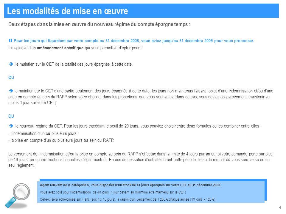 4 Deux étapes dans la mise en œuvre du nouveau régime du compte épargne temps : Pour les jours qui figuraient sur votre compte au 31 décembre 2008, vous aviez jusqu au 31 décembre 2009 pour vous prononcer.