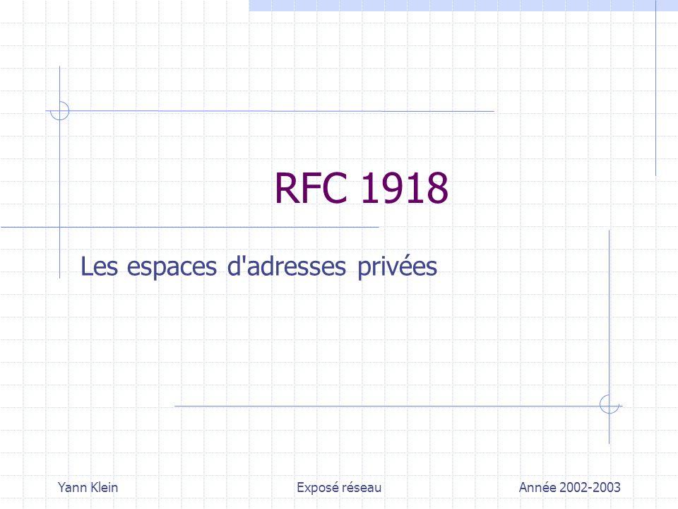 Yann KleinRFC 1918 – Les espaces d adresses privéesAnnée 2002-2003 Plan de cet exposé Pourquoi cette RFC .