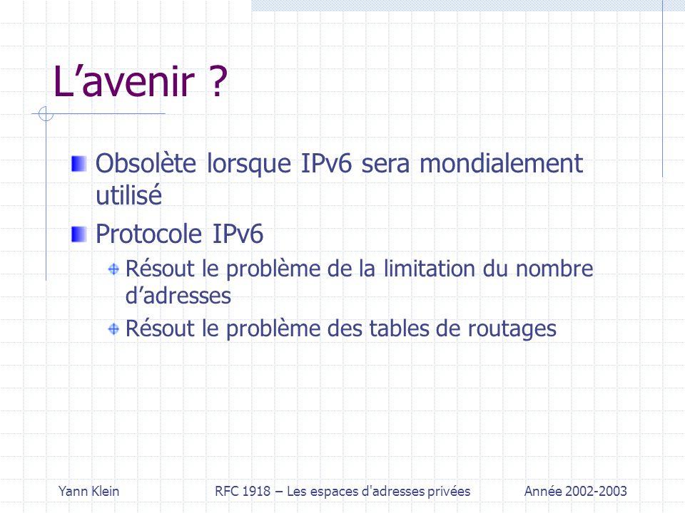 Yann KleinRFC 1918 – Les espaces d adresses privéesAnnée 2002-2003 Lavenir .