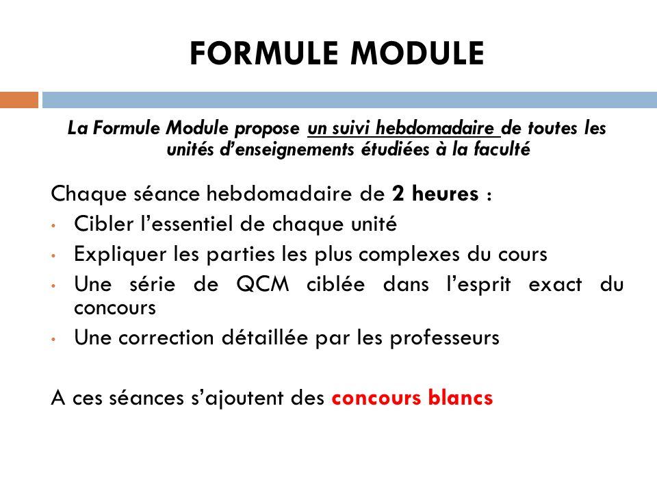 FORMULE MODULE La Formule Module propose un suivi hebdomadaire de toutes les unités denseignements étudiées à la faculté Chaque séance hebdomadaire de
