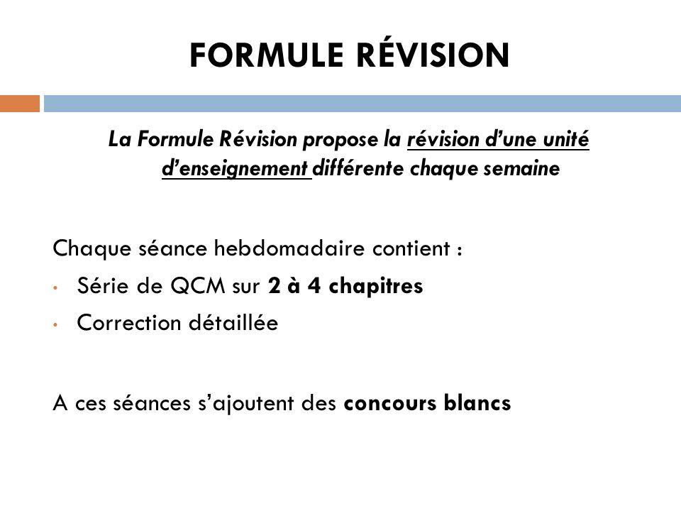 FORMULE RÉVISION La Formule Révision propose la révision dune unité denseignement différente chaque semaine Chaque séance hebdomadaire contient : Séri