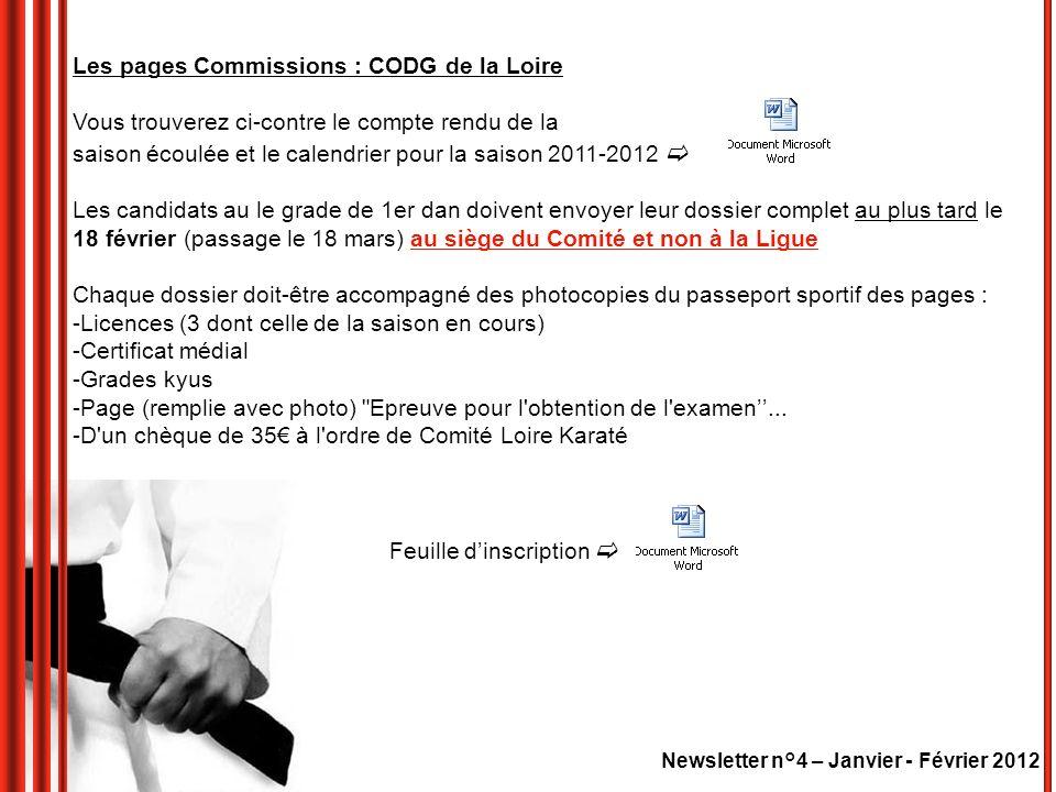 Les pages Commissions : CODG de la Loire Vous trouverez ci-contre le compte rendu de la saison écoulée et le calendrier pour la saison 2011-2012 Les c
